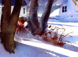 sunny snow scene painting in watercolor