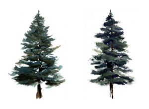 Easy To Paint Pine Trees In Watercolor